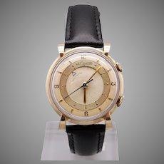 Handsome Retro Jaeger LeCoultre 10k Yellow Gold Filled 17 Jewel Wrist Alarm Watch 489 NXA