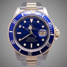 Mens Rolex Submariner 18k Yellow Gold and Stainless Steel Automatic Watch Blue Dial 16613