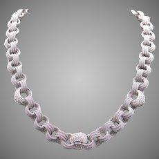 "Breathtaking Borsheims 18k White Gold 3ct Round Diamond Woven Mesh Tennis Link Necklace 17.25"""