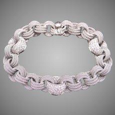 """Gorgeous Borsheims 18k White Gold 3ct Round Diamond Woven Mesh Tennis Link Bracelet 7.25"""""""