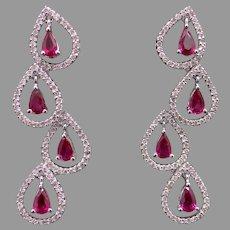 Beautiful 18k White Gold 3ct Pear Shape Ruby Round Diamond Dangle Drop Chandelier Earrings