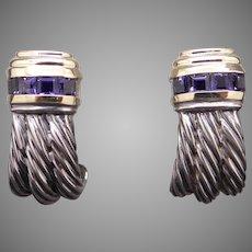 Beautiful David Yurman .80ct Tanzanite Silver 14k Gold Woven Renaissance Cable Earrings Omega Backs