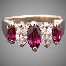 Beautiful 14k Yellow Gold 1ct Marquise Ruby Diamond 8mm Wedding Anniversary Band Ring Size 5