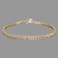 Striking 14k Yellow Gold 4ct Round Cut Diamond Box Link Tennis Straight Line Bracelet 7 inch