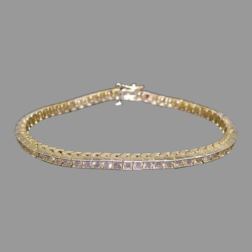 Striking 14k Yellow Gold 4ct Round Cut Diamond Box Link Tennis Straight Line Bracelet 7 inch