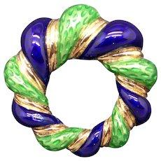 Retro 18k Yellow Gold Blue Green Enamel Flower Rope Circle Eternity Love Brooch Pin