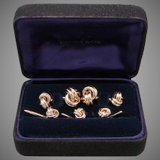 Tiffany & Co 18k Yellow Gold Love Knot Cufflinks Shirt Studs 5 Piece Set With Box Classic Gift for Him