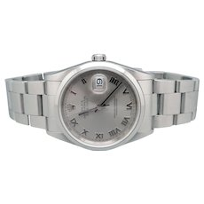 Mens Stainless Steel Rolex Date Just Automatic Watch 16200 Oyster Bracelet Deployment Buckle