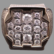 Mens 14k Yellow Gold 1.50ct Round Cut Diamond 20mm Cluster Band Ring Size 12.5