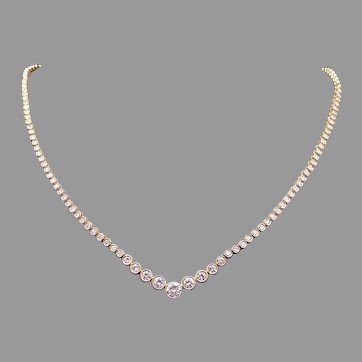 Exquisite 18k Yellow Gold 5ct Round Cut Diamond Graduated Tennis Bezel Link Necklace 16 Inch Statement Bridal Wedding Gift
