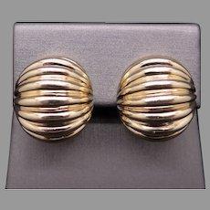 Vintage Tiffany & Co 14k Yellow Gold Woven Cable Sea Shell Shrimp Stud Button Earrings Omega Backs