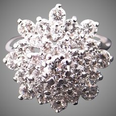 Sparkling 14k White Gold 2ct Round Diamond Cluster Star Snowflake Band Ring Size 6