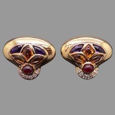 Winc 18k Gold 3ct Cabochon Ruby Amethyst Citrine Diamond Fan Kite Stud Earrings Omega Backs