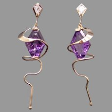 Exquisite 14k Yellow Gold 10.50ct Kite Shape Amethyst Diamond Dangle Drop Sprial Earrings