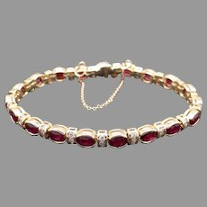 Stunning 14k Yellow Gold 9.69ct Oval Cut Ruby Red Round Cut Half Bezel Diamond Tennis Link Bracelet 7 inch With Safety Chain