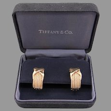 Classy Tiffany & Co Schlumberger 18k Yellow Gold Six Row Rope Hoop Huggie X Earrings With Omega Backs