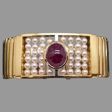 Exceptional Retro 18k Yellow White Gold 7ct Cabochon Cut Ruby & Cultured Pearls Bangle Cuff Bracelet