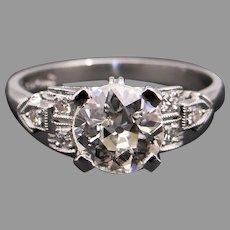 Art Deco Platinum 1.19ct Round European Cut Diamond Engagement Promise Love Ring Size 6