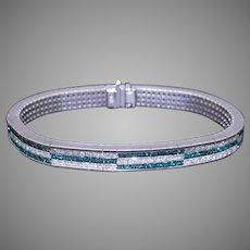 Dazzling 18k White Gold 12ct Princess Cut Fancy Blue White Diamond Tennis Bracelet Checkered Design 7 inches
