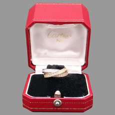 Cartier 18k Tri Color Gold 1.60ct Round Diamond Trinity Rolling Roller Band Ring Size 52 Box Eternity Statement Anniversary Bridal