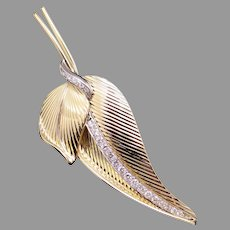 Amazing Solid 18k Yellow Gold 1ct Round Diamond Feather Wing Leaf Free Form Brooch Pin