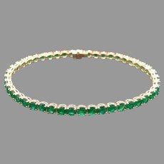 Gorgeous 18k Yellow Gold 10ct Round Cut Green Emerald Tennis Link Bracelet 7.5 Inch