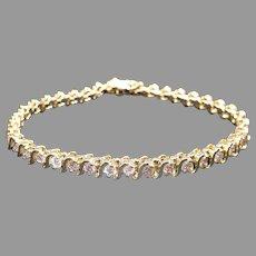 Classic 14k Yellow Gold 4ct Round Brilliant Cut Diamond S Link Tennis Bracelet 7 inch