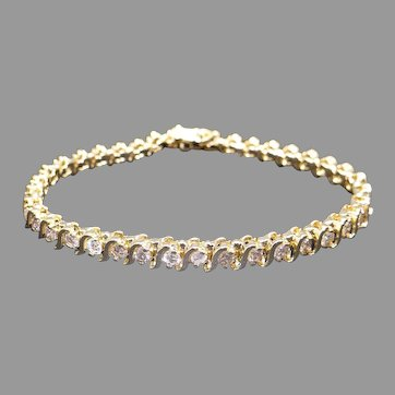 Classic 14k Yellow Gold 4ct Round Brilliant Cut Diamond S Link Tennis Bracelet 7 inch
