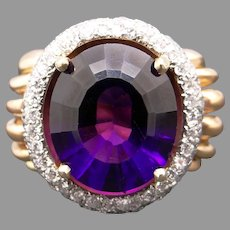 Exceptional 18k Yellow Gold Oval Step Cut Amethyst Diamond Pave Halo Cluster Halo Cocktail Cluster Statement Ring Size 6.5