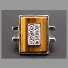 Retro 14k Yellow Gold Tiger Eye Round Cut Diamond Geometric Cluster Ring Size 7 Statement Ring Square Shank