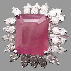 Fantastic 14k White Gold 10ct Emerald Cut Ruby Diamond Engagement Halo Statement Cocktail Cluster Right Hand Ring Size 6.5