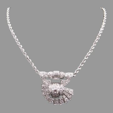 Spectacular Art Deco Platinum 14k White Gold 3.75ct Round & Baguette Bezel Pave Diamond Necklace 18 inch Rope Chain