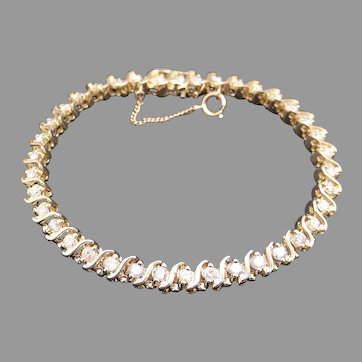 Classic 14k Yellow Gold 3ct Round Brilliant Cut Diamond S Link Tennis Bracelet 7.25 inch With Safety Chain
