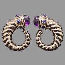 David Yurman 14k Yellow Gold 3.60ct Cabochon Amethyst Blue Sapphire Shrimp Swirl Stud Earrings Omega Backs