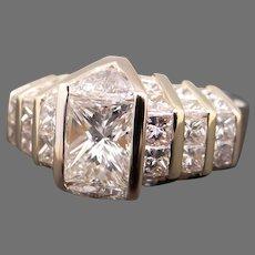 Breathtaking 18k Yellow Gold 3.75ct Princess & Trillion Cut Diamond Engagement Promise Anniversary Statement Ring Size 6