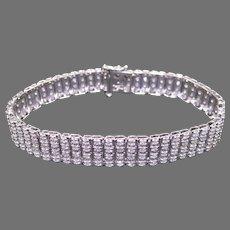 Dazzling 14k White Gold 7ct Round Diamond 11mm Wide Tennis Link Bracelet 8 inch