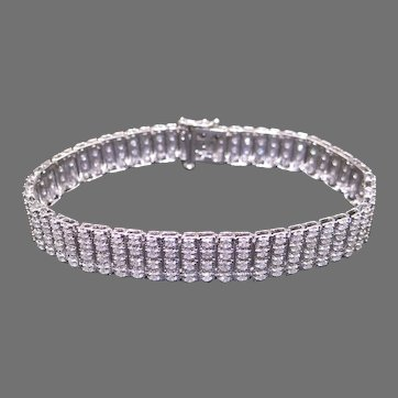 Dazzling 14k White Gold 7ct Round Diamond 11mm Wide Tennis Link Bracelet 8 inch