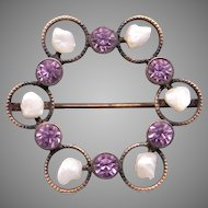 Art Deco 14k Yellow Gold Amethyst & Cultured Seed Pearls Circle Pin