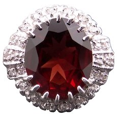Adorable 14k White Gold 4.74ct Oval Cut Garnet Diamond Halo Cocktail Cluster Ring 3.75