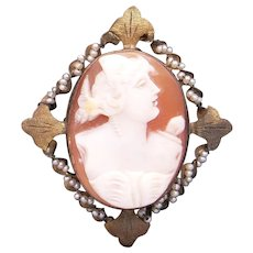 Deco Era 10k Yellow Gold Carved Shell Cameo Cultured Seed Pearl Woman Portrait Pendant Brooch Pin