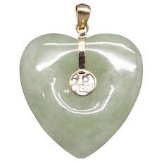 Beautiful 14k Yellow Gold Green Jade Heart Pendant Necklace