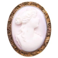Vintage Estate 10k Yellow Gold Carved Coral Cameo Woman Portrait Brooch Pin Pendant