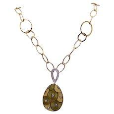 "Exquisite Faberge 18k Yellow Gold Green Enamel Egg Round Cut Diamond Pendant Necklace 18"""