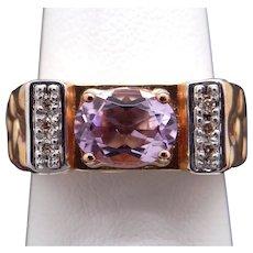 Vintage Estate 14k Yellow Gold 1ct Oval Purple Amethyst Diamond Cluster Nugget RingSize 7.5