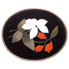 Vintage 10k Yellow Gold Mosaic Onyx Flower Brooch Pin