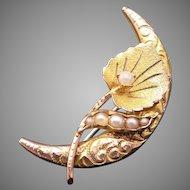 Victorian 10k Yellow Gold Seed Pearl Half Moon Flower Brooch Pin