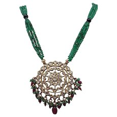 Incredible 18k Yellow Gold 2ct Rose Cut Diamond Amethyst Emerald Bead Enamel Drop Necklace