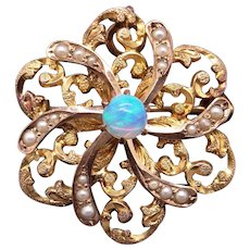 Victorian 10k Yellow Gold Multi Color Opal Seed Pearl Flower Star Brooch Pin