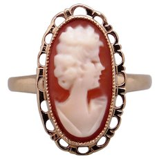 Adorable Estate 10k Yellow Gold Carved Bust Shell Cameo Band Ring Size 8