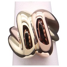 Vintage Unique 14k Yellow Rose Gold Twist Solid Gold Band Ring Size 6.5